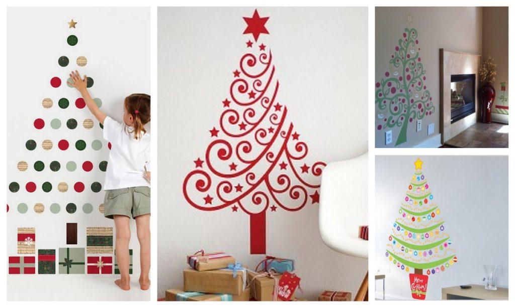 Намальована на стіні новорічна ялинка